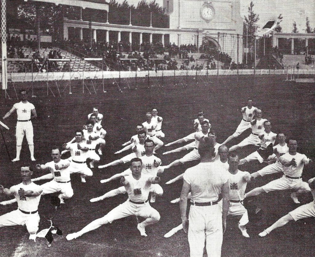1920 Antwerp Squad of 24 group exercise. JJ Cook coach at front