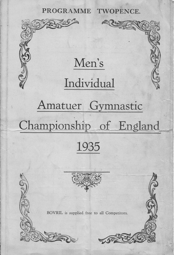 Men's Amateur Gymnastics Championships of England Programme 1935
