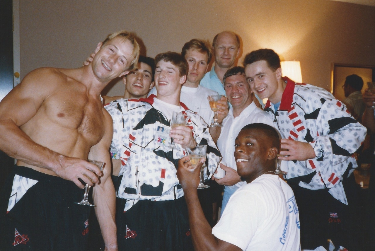 Marvin with the 1991 World Championships team following their qualification for the 1992 Olympics