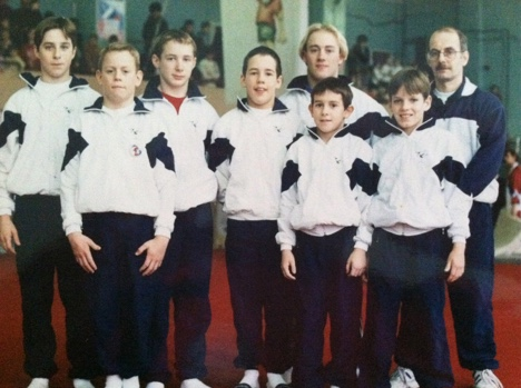 David Eaton - third from left - Hinckley Gym Club with coach Trevor at Novgorod 1995