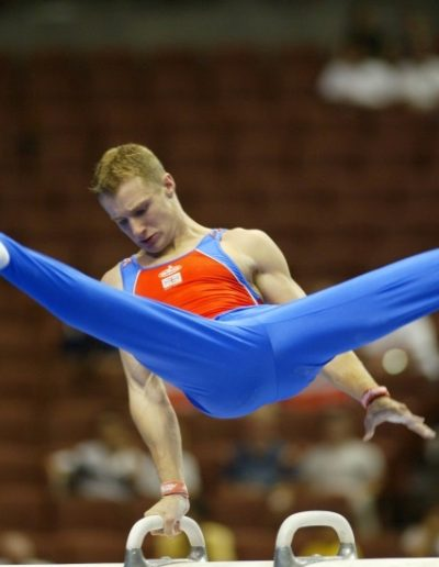 British Champion in 2001. David Eaton competing on Pommel Horse at the World Championships in 2003.