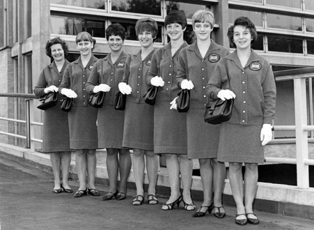 Dortmund World Championships 1966. L – r Pauline Prestidge, Mary Prestidge, Anne Simmonds, Diane Lodge, Rita Francis, Maria Gough  and Maggie