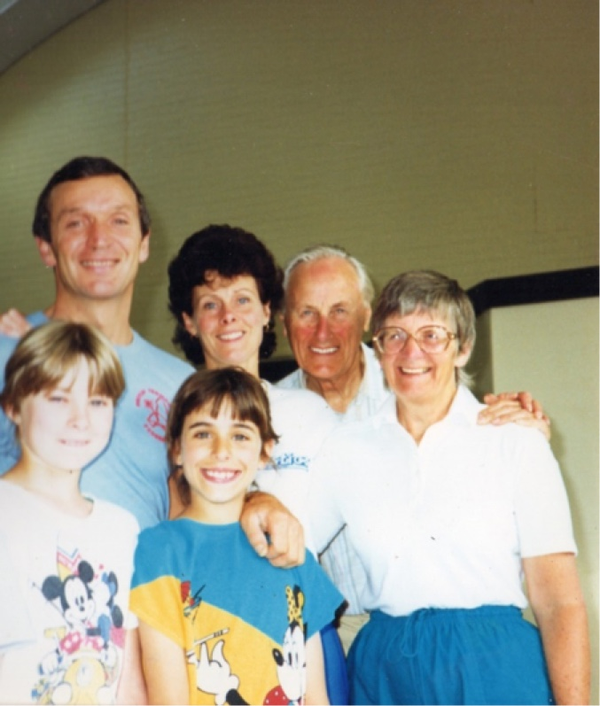Monica with her family, Brian and daughters Erika & Mandy and Jim & Pauline Prestidge.