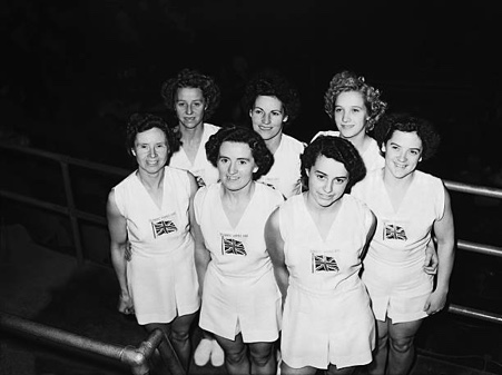 Part of the British Ladies' team. From the left. Carrie Pollard, Pat Hirst, Dorothy Smith. Other four I am not sure of their names.