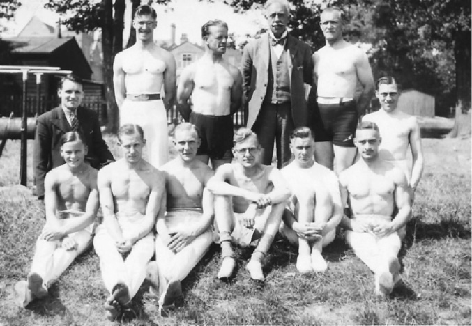 Part of the men's team left behind. This photo was taken in Sutton Coldfield where they trained at the Sutton Coldfield Grammar School.