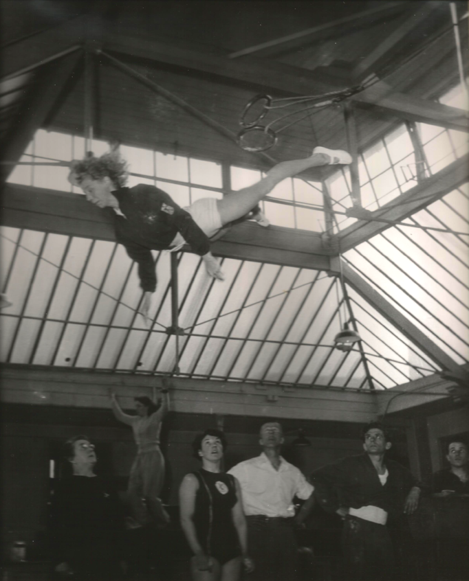 Truly an amazing dismount from swinging rings when you know she had to land on a wooden floor with a coconut mat for landing.