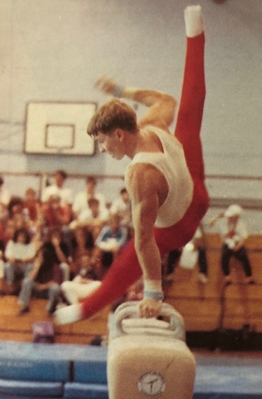 Paul Bowler competing on Pommel Horse at the British Championships