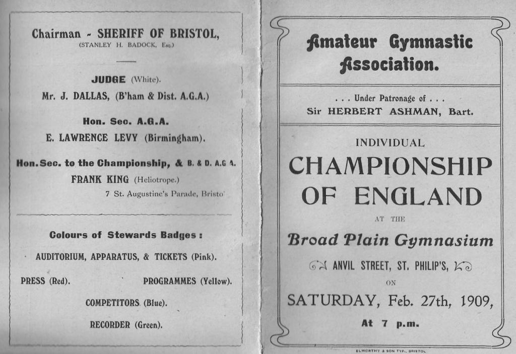 Programme - 1909 English Gymnastics Championships