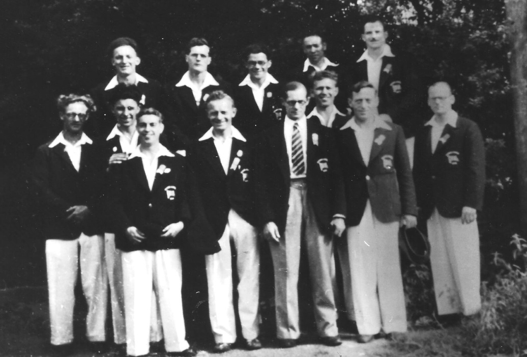 The men's team with Helmut Bantz extreme left. Centre Bill King team manager and to his right Arthur Whitford. Frank Turner for some reason is not in this photo although he was part of the team