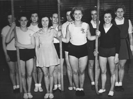 This must have been squad training, as gymnasts from Wales and London are in the photo including Carrie Pollard who was the team coach.