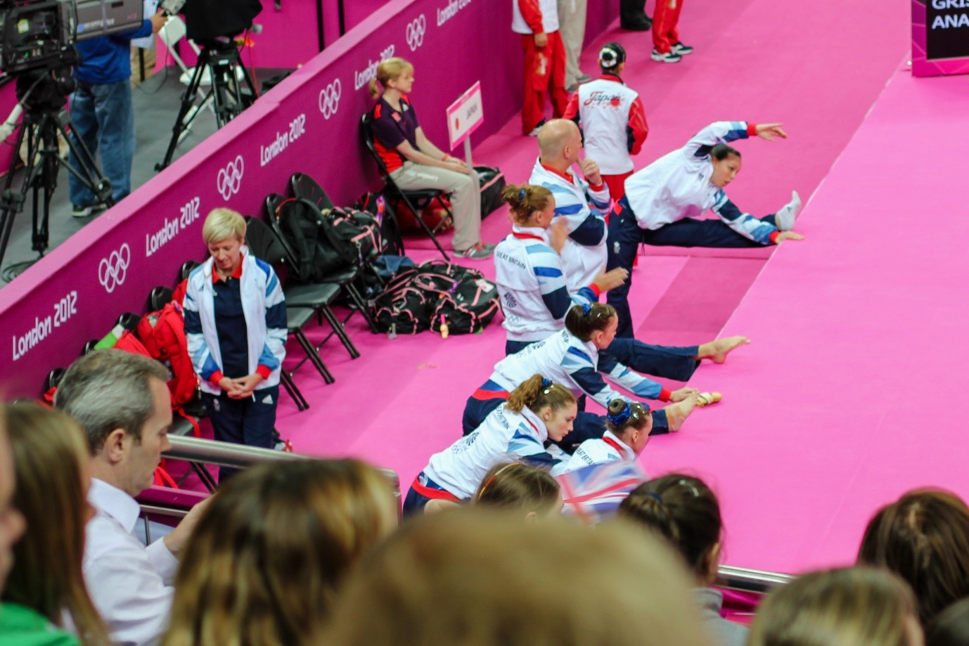 British Team warm up for the Women's Team Final in 2012YA