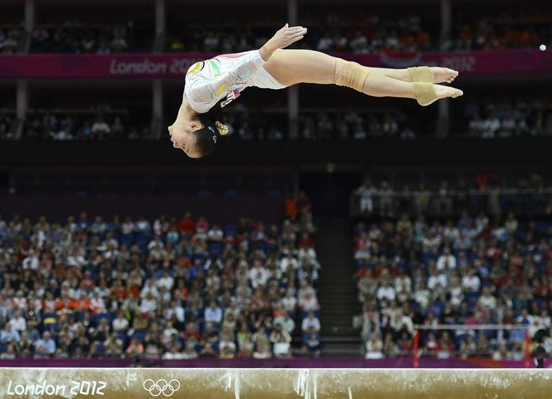 Chinese gymnast on beam at 2012