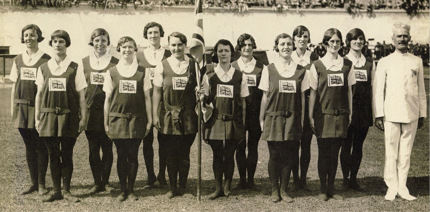 1928 Women's Gymnastics Team In Stadium - BG Archive