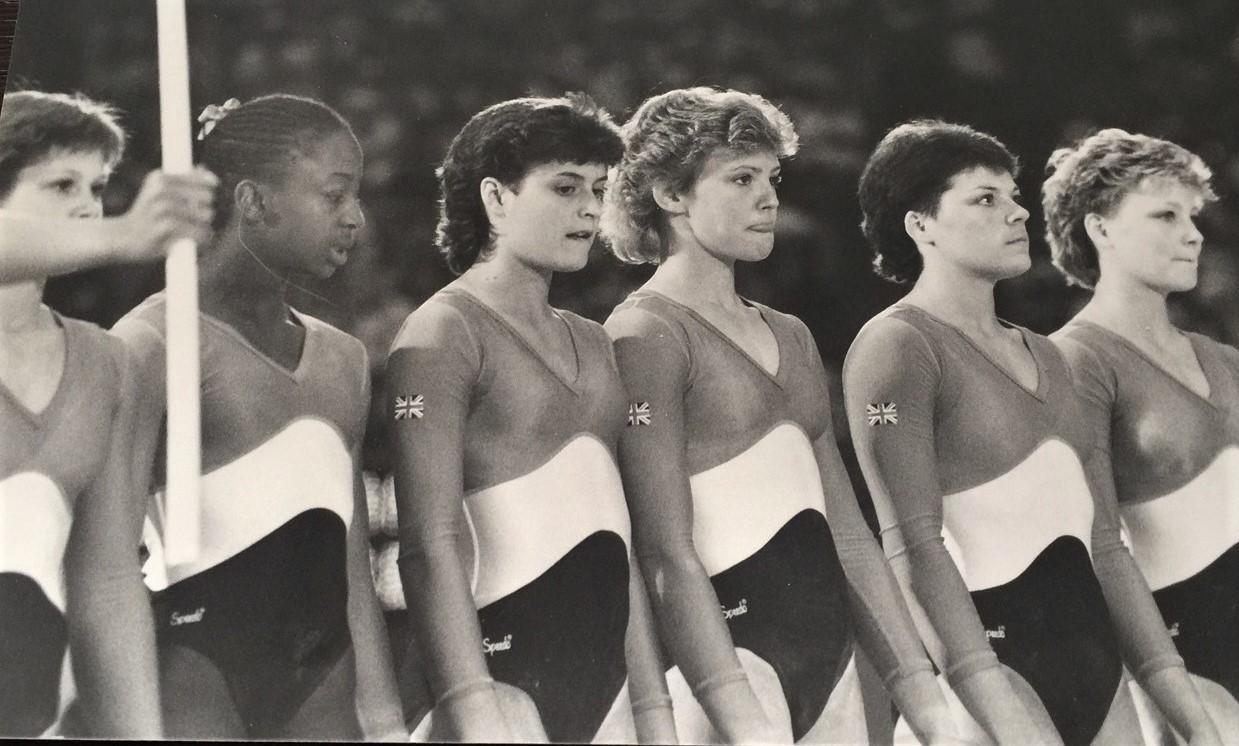 GB's 1984 LA Olympic Team. L-R - Natalie  Davies, Kathy Williams, Sally Larner, Lisa Young, Amanda Harrison and Hayley Price