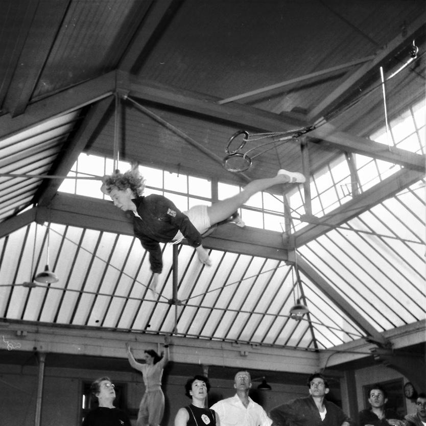Pat Hirst flyaway from Swinging Rings at Wood Green circa 1956