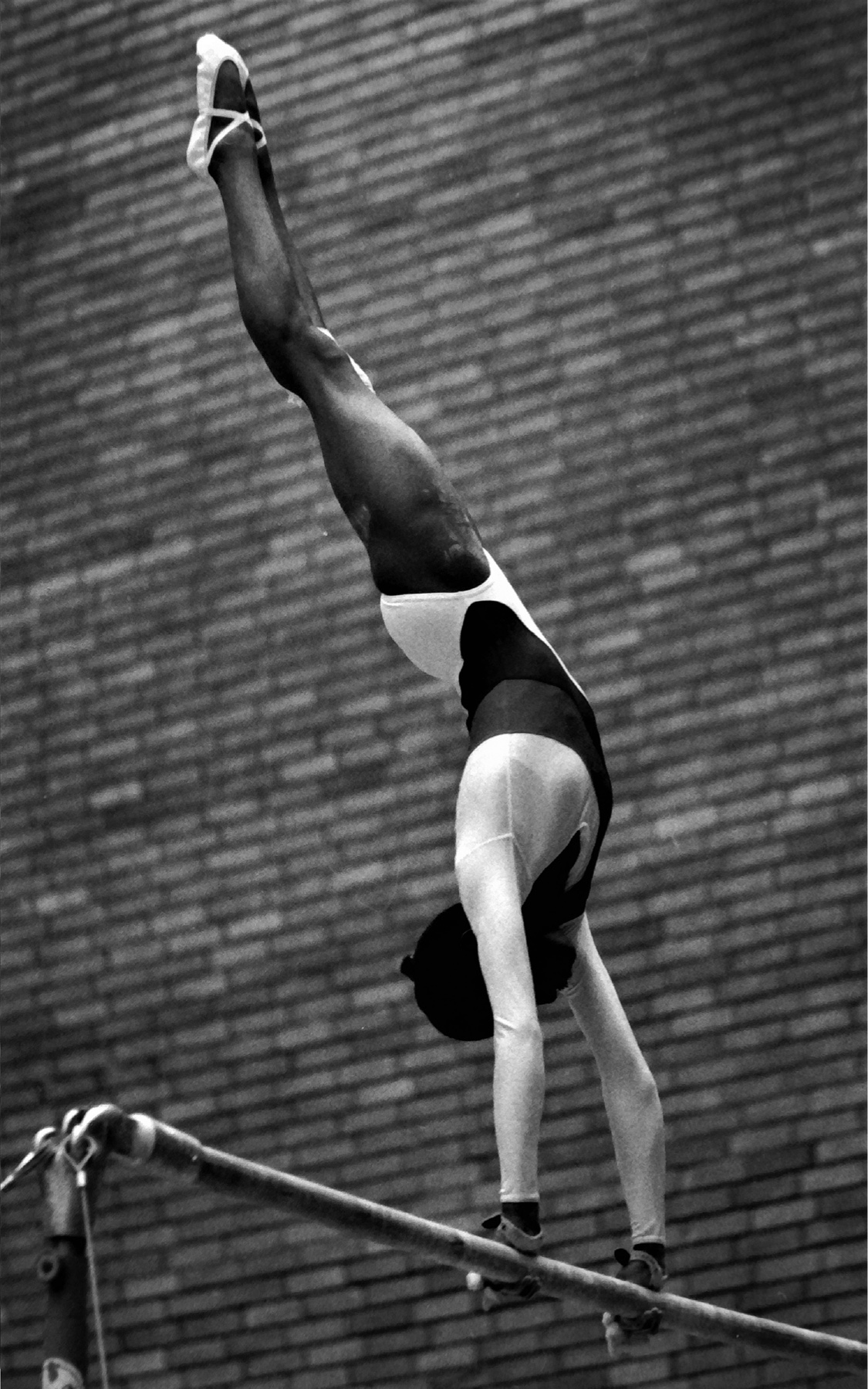 Kathy Williams competing on A Bars for GB against Romania in November, 1979 - photo Alan Burrows