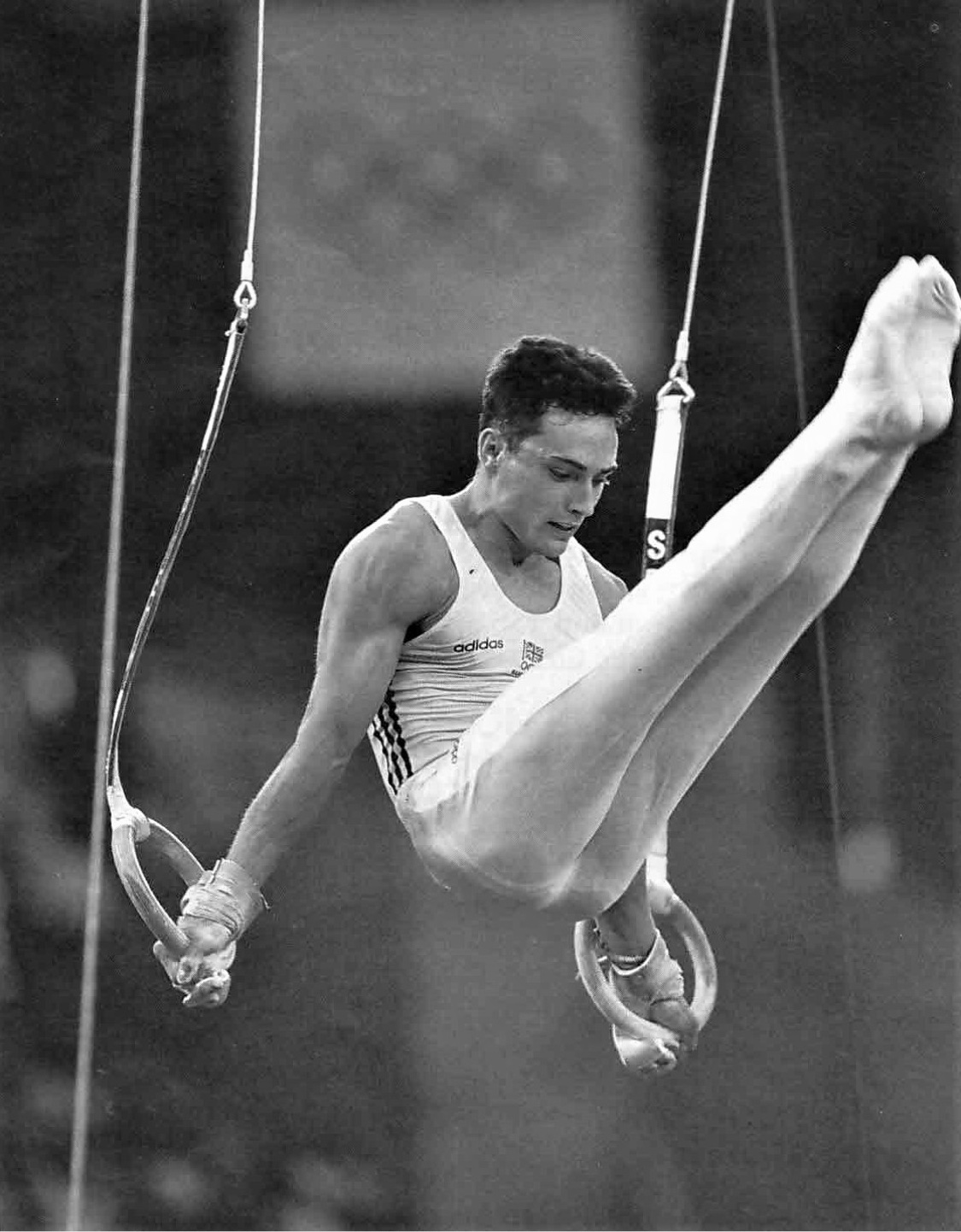 Neil Thomas competing for Great Britain on rings at the 1992 Barcelona Olympics