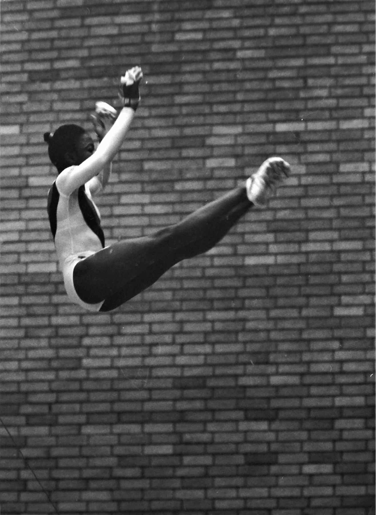 Williams Kathy competing on bars for GB against Romania in Huddersfield in November 1979 - photo Alan Burrows